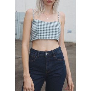 Brandy Melvile Smocked Gingham Cropped Top size S